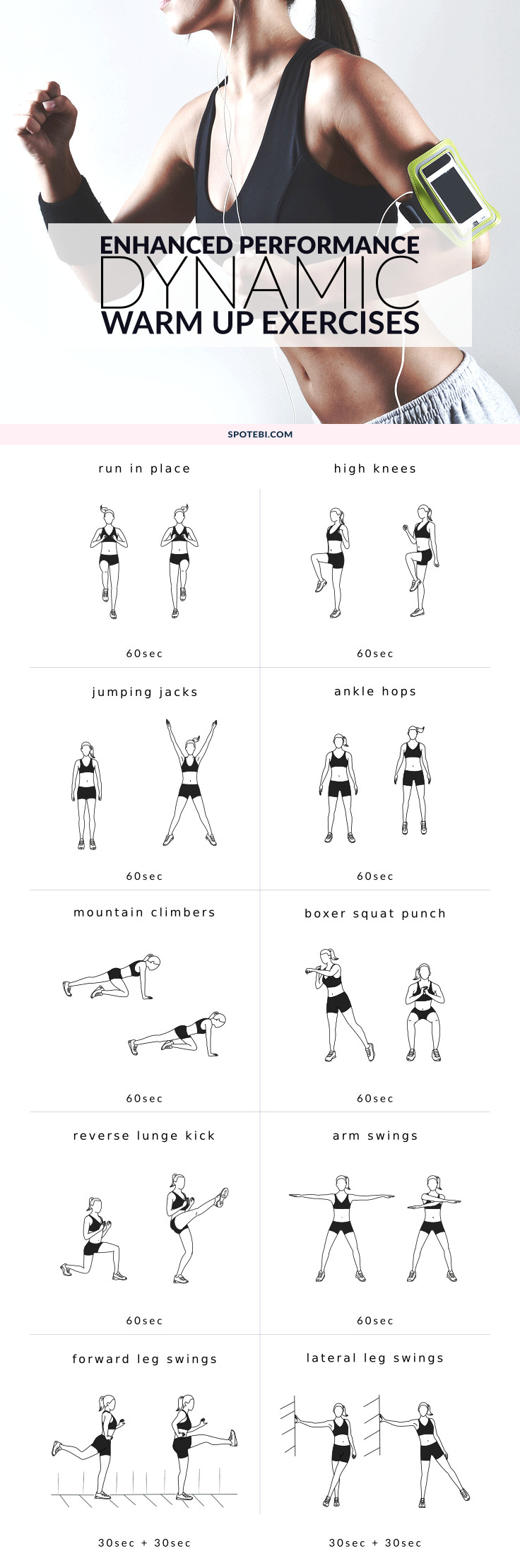 Warm up Exercises Static and Dynamic Stretching Full Body Stretches Infographics