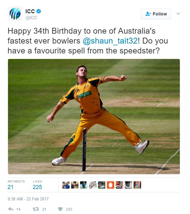 ICC wishes the speedster a happy birthday on Twitter
