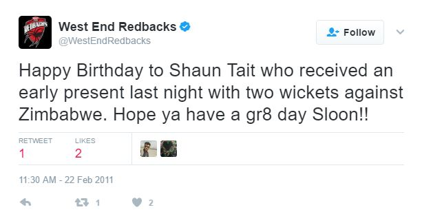 West End Redbacks wishes Shaun Tait