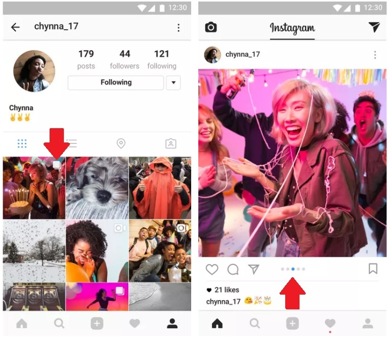 Instagram carousel feature in one post